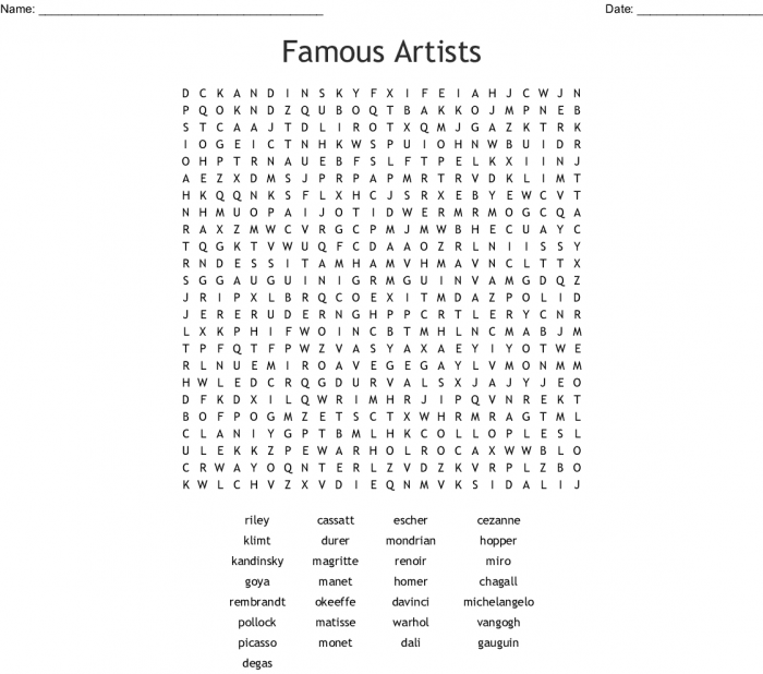 Famous Artists Word Search