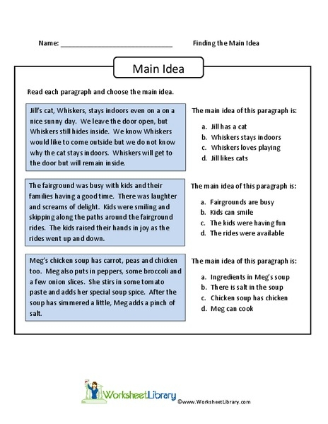 Finding The Main Idea Worksheet For Th Th Grade Lesson Planet