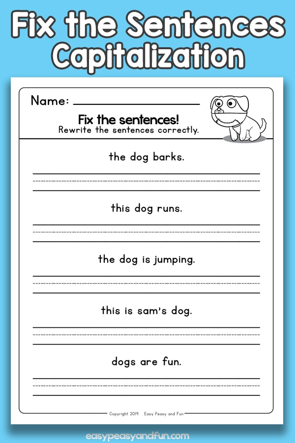 Fix The Sentences Capitalization Worksheets  Easy Peasy And Fun
