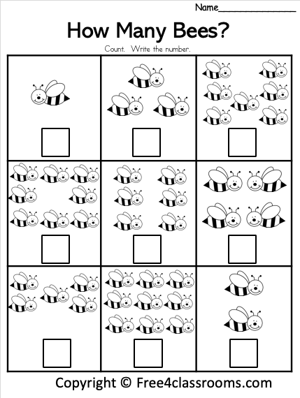 Free How Many Bees Math Worksheets