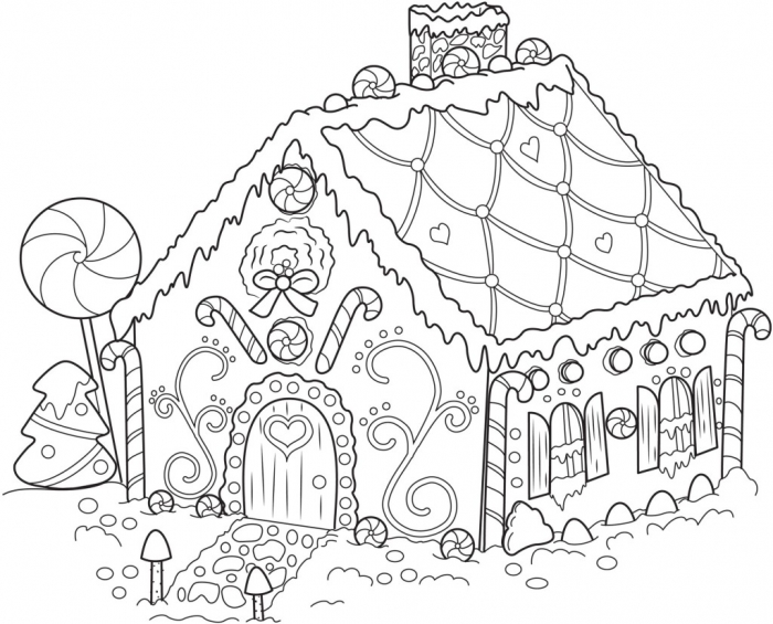 Gingerbread House Coloring Pages Free Printable For Kids Sheet
