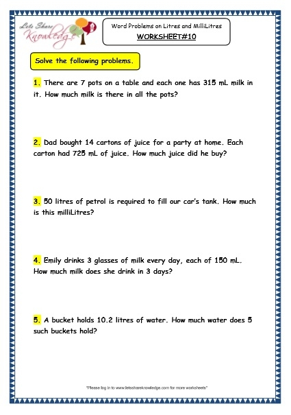 Grade  Maths Worksheets  Measurement Of Capacity Word