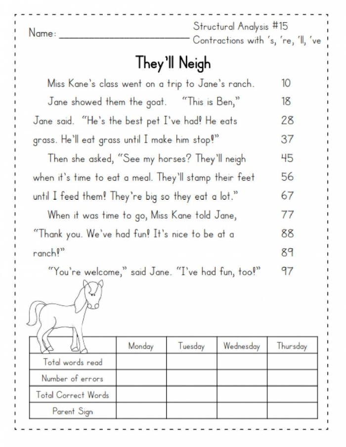 Guided Reading Contractions Worksheet