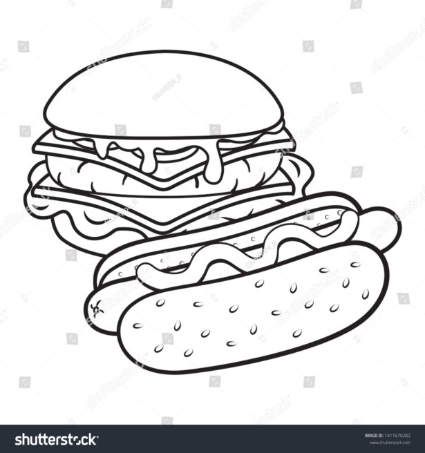 Hamburger Hot Dog Black Stock Vector Royalty Free Pictures And