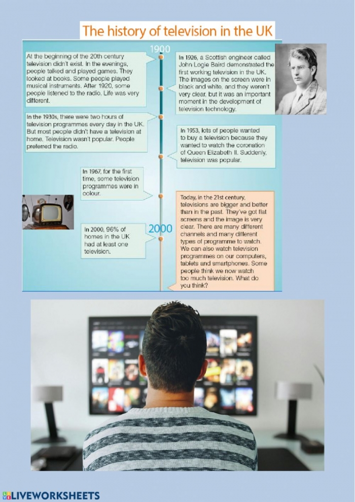 History Of Television Worksheet