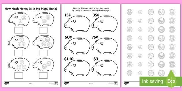 How Much Money Is In My Piggy Bank Worksheet  Activity Sheets