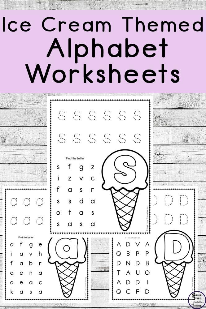 Ice Cream Themed Alphabet Worksheets