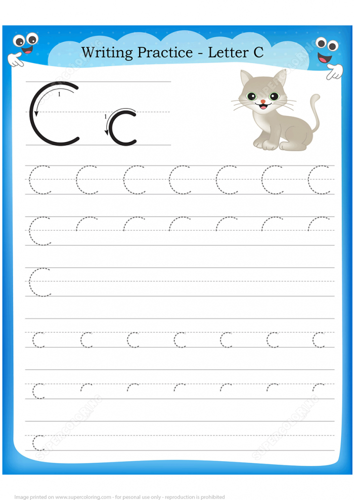 Letter C Is For Cat Handwriting Practice Worksheet