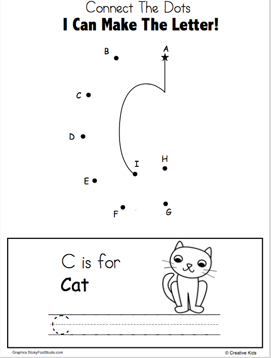 Letter C Writing And Dot To Dot Worksheet