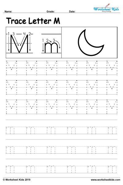 Letter M Alphabet Tracing Worksheets
