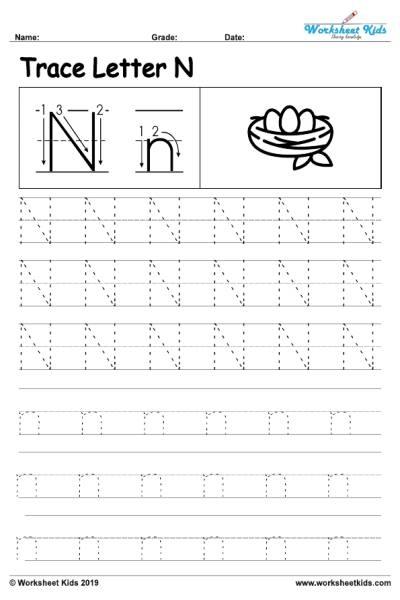 Letter N Alphabet Tracing Worksheets