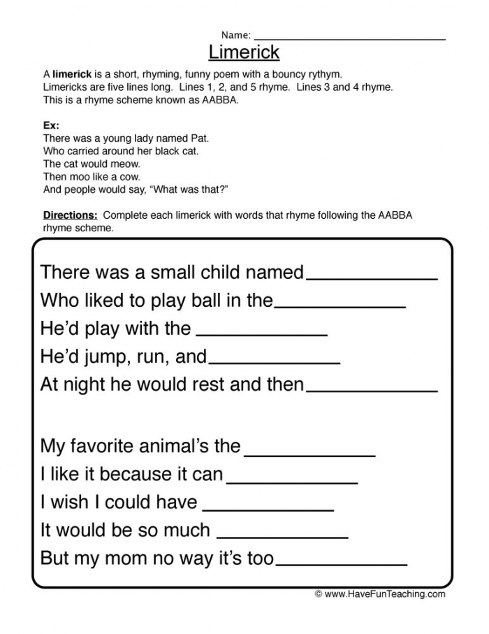 Limerick Fill In The Blank Worksheet  Have Fun Teaching