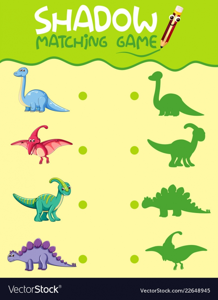 Matching Dinosaur Shadow Worksheet Royalty Free Vector Image