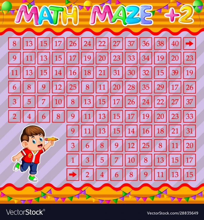 Math Maze Addition Worksheet With Happy Boy Vector Image