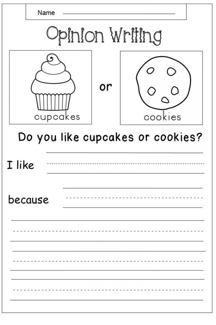 Math Worksheet  Free Opinion Writing Printable Kindergarten