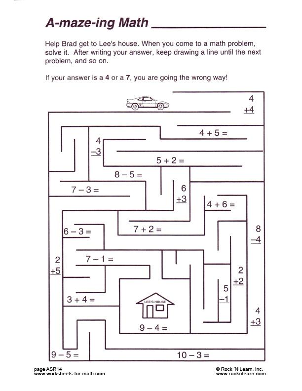 Math Worksheet Asr Subtraction Maze Worksheets Coolmath Games