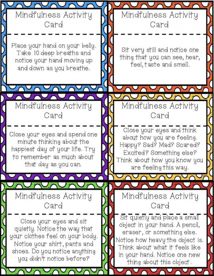 Mindfulness Activity Brain Break Cards For Calm Down Corners And