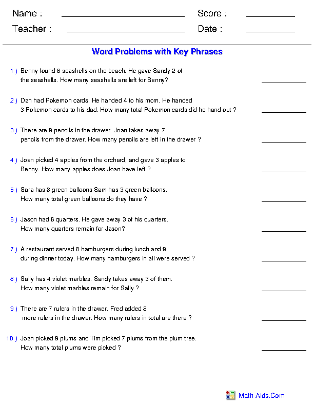 Mixed Operations With Key Phrases Word Problems