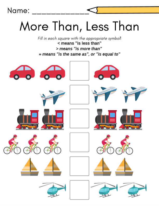 More Than  Less Than Math For Preschool  A Free Printable From My