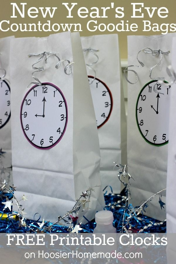 New Years Eve Countdown Bags With Free Printable Clocks