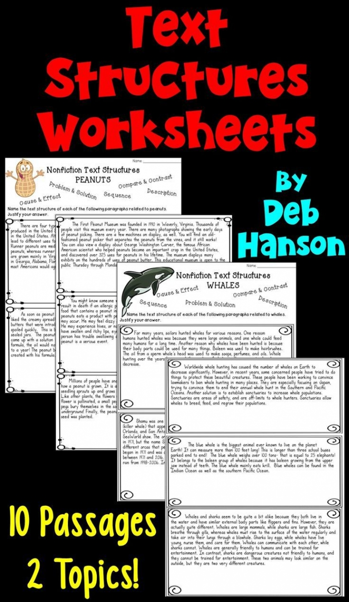 Nonfiction Text Structures Worksheets Students Read Ten