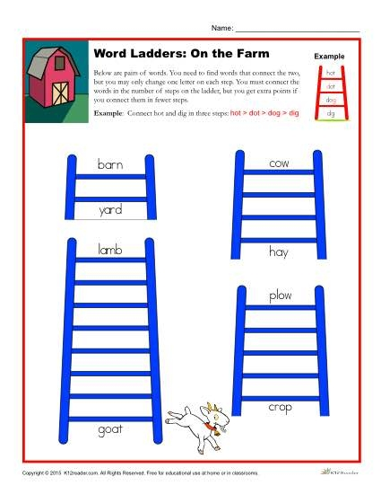 On The Farm Word Ladders Worksheet