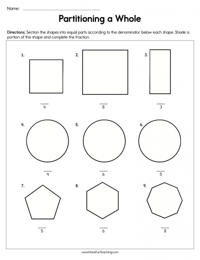Partitioning A Whole Worksheet  Have Fun Teaching