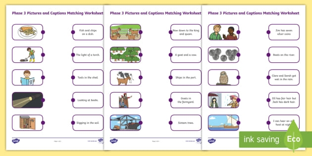 Phase Pictures And Captions Matching Worksheets Caption For First