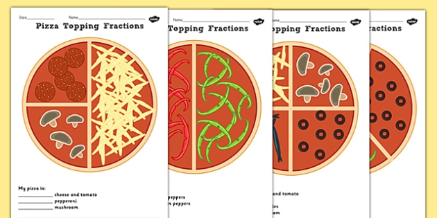 Pizza Fractions Halves Quarters And Thirds Activity Sheets