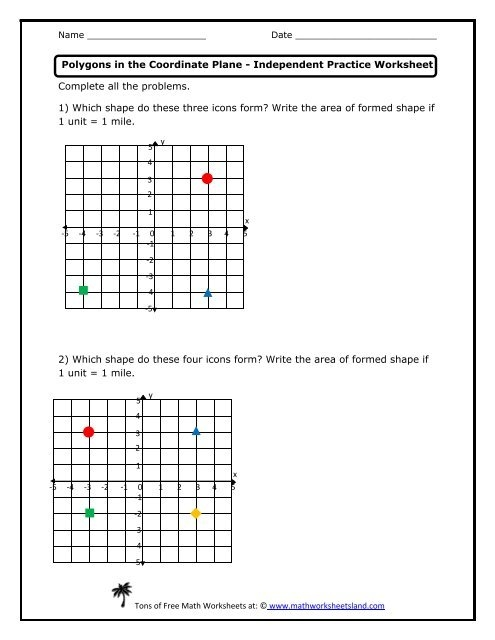 Polygons In The Coordinate Plane Independent Practice Worksheet