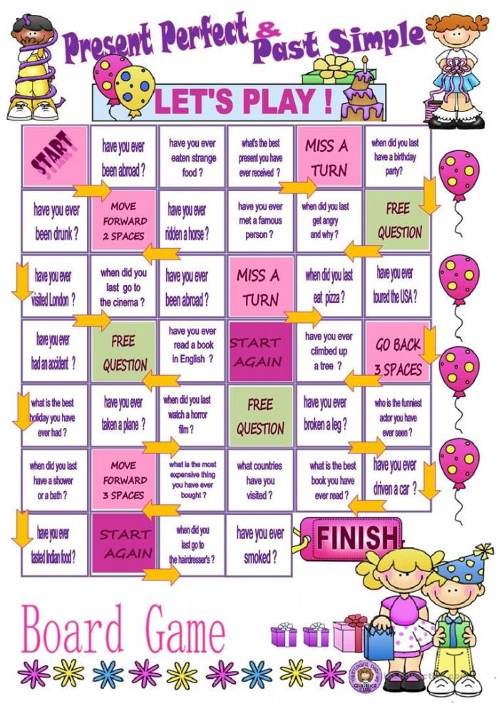 Present Perfect Versus Past Simple Board Game Worksheet