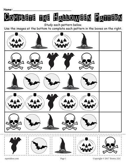 Printable Halloween Pattern Worksheet