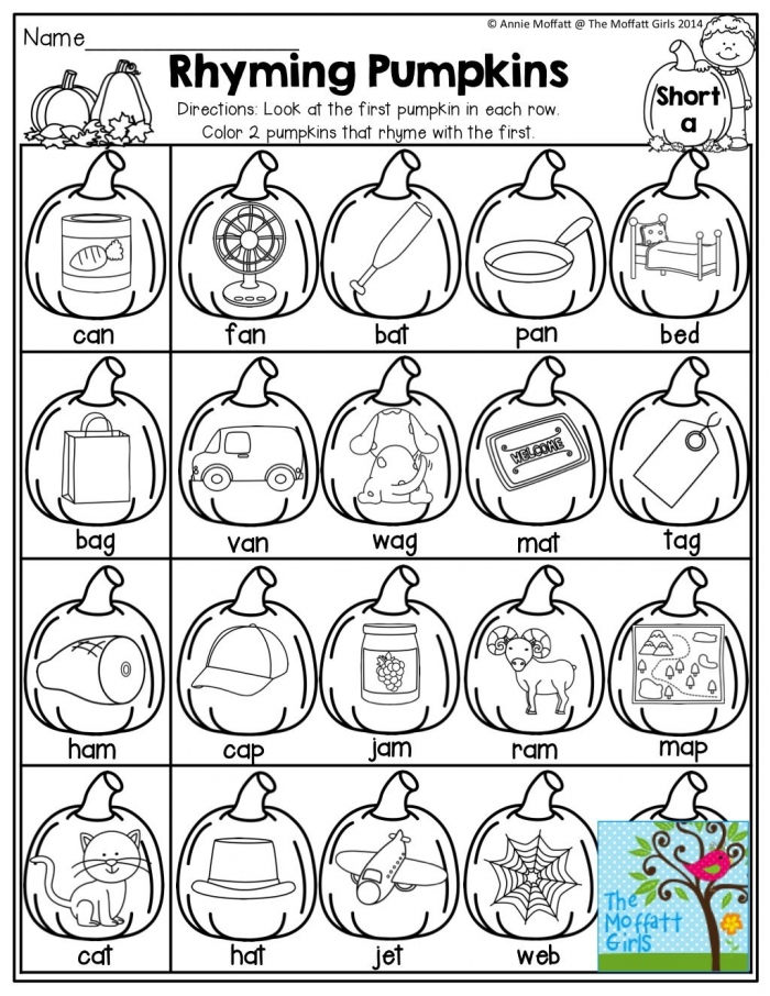 Rhyming Pumpkins Color The Pumpkins That Rhyme And Tons Of Other