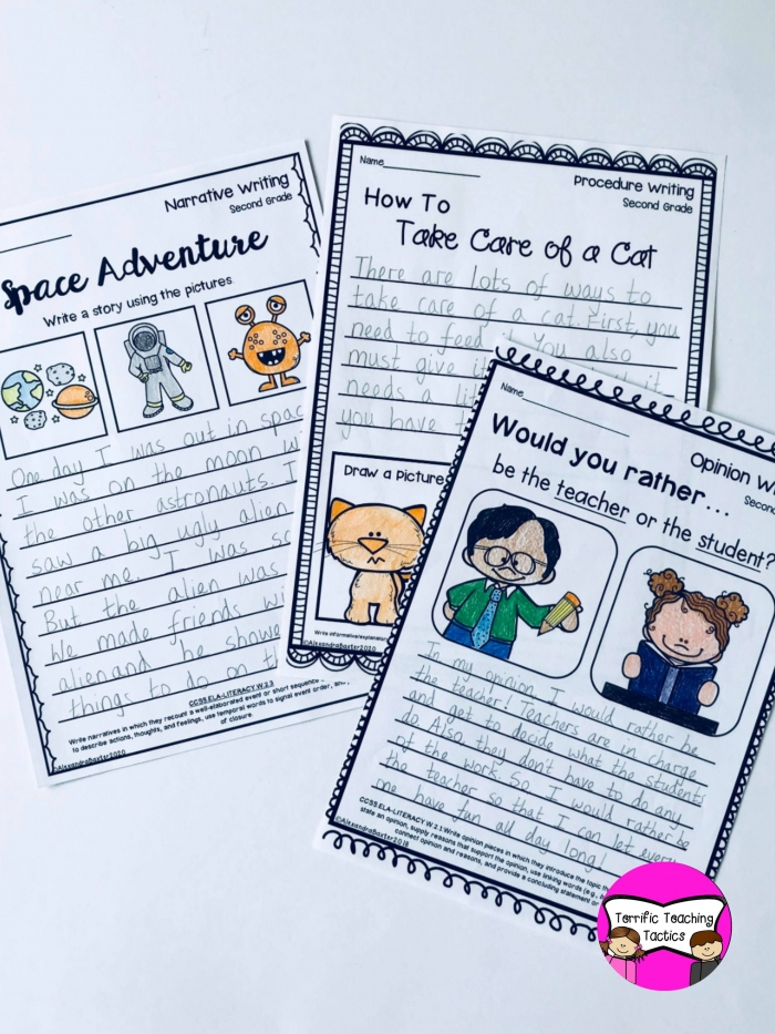 Second Grade Writing Worksheetsprompts Bundle Opinion  Narrative