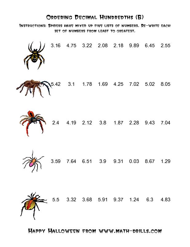 Spiders Ordering Decimal Hundredths B Halloween Math Worksheet