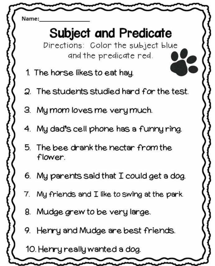 Subject And Predicate Worksheet Worksheets Hard To Find Subjects