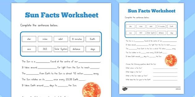 Sun Facts Worksheet Teacher Made