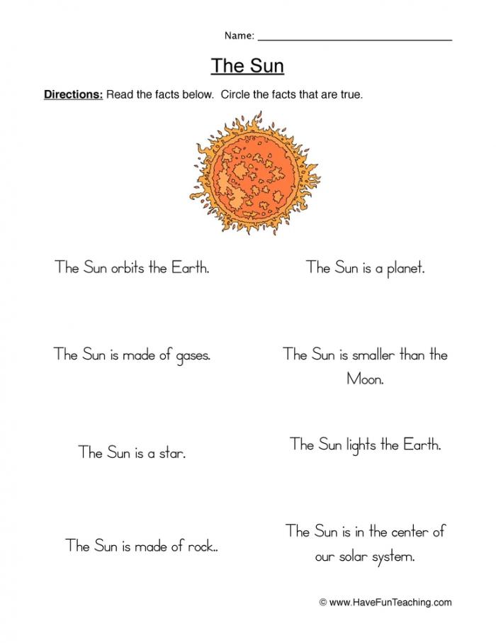 Sun True Or False Worksheet  Have Fun Teaching