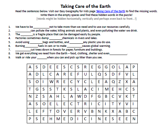 Taking Care Of The Earth Worksheet