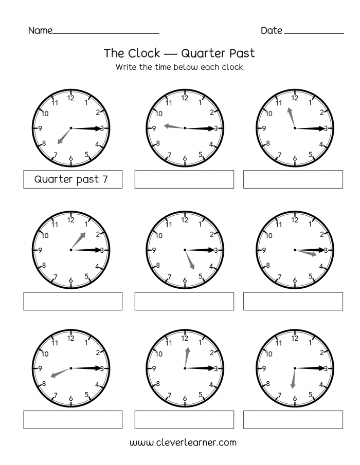 Telling Time  Quarter Past The Hour Worksheets For Nd Graders