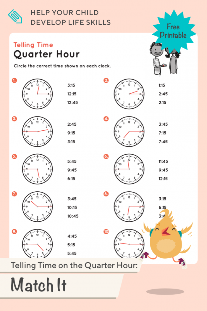 Telling Time On The Quarter Hour Match It