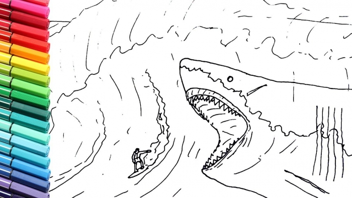 The Meg Shark Coloring Pages Amazon Com Amakunft Megalodon Shark