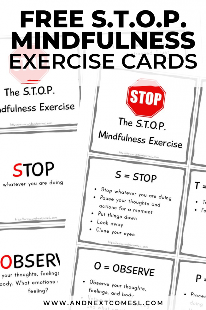 The Stop Mindfulness Exercise Free Printable Cards   Poster