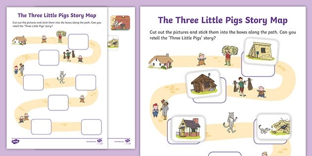 The Three Little Pigs Cut And Stick Story Map Activity