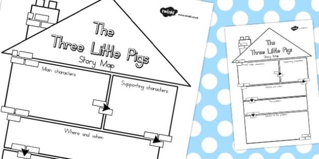 The Three Little Pigs Story Map Teacher Made