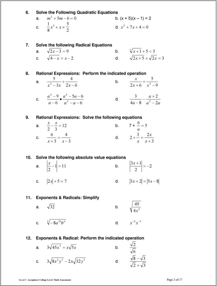Tsi College Level Math Practice Test Pdf Free Worksheets
