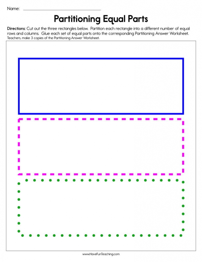 Two Three Or Four Equal Shares Worksheet  Have Fun Teaching