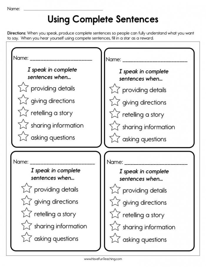 Using Complete Sentences Worksheet  Have Fun Teaching