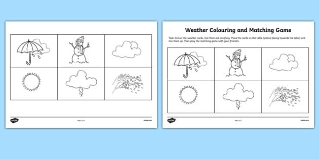Weather Matching Game Worksheet  Worksheet Teacher Made