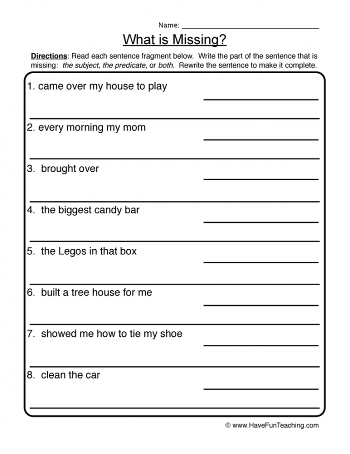 What Is Missing Complete Incomplete Sentences Worksheet  Have